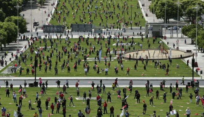 Η συγκέντρωση των συνδικαλιστών στην πλατεία Alameda