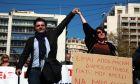 O Μανώλης Κυπραίος σε πορεία για την ελευθερία του Τύπου στην Ελλάδα