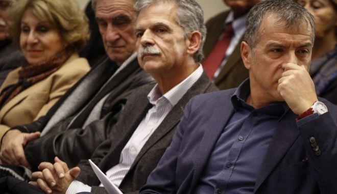 Ο Σπύρος Δανέλλης και ο Σταύρος Θεοδωράκης σε παλαιότερη εκδήλωση του Ποταμιού