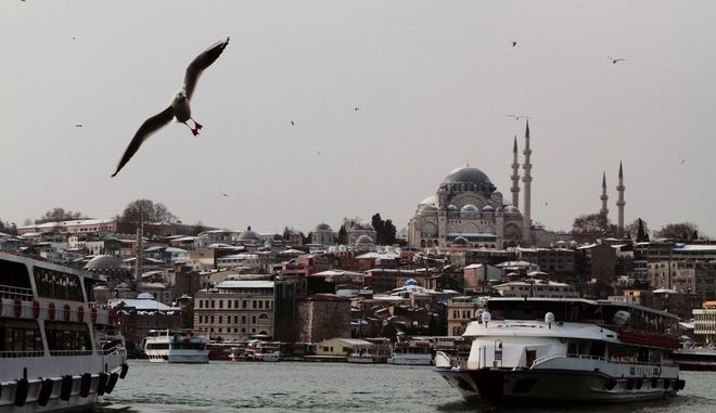 A seagull flies over the city's snow-covered historical part of Istanbul, Turkey, Tuesday, Jan. 8, 2013. An earthquake centered beneath the Aegean Sea shook cities and islands in Turkey and Greece on Tuesday, causing panic in some areas but no injuries or damage, officials said. (AP Photo/Gaia Anderson)