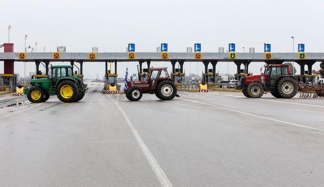 Αγρότες στα διόδια Μαλγάρων. Φωτο αρχείου.