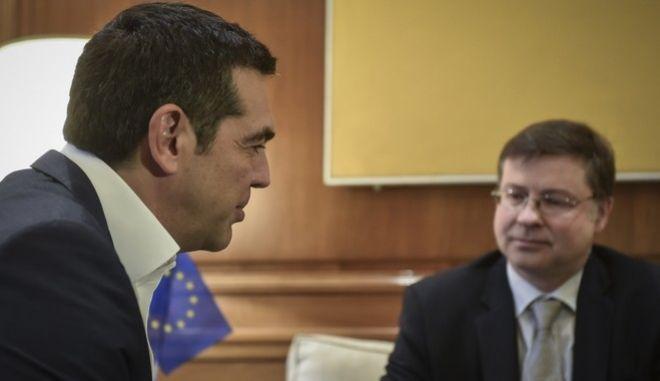 Συνάντηση του  Πρωθυπουργού με τον Αντιπρόεδρο της Ευρωπαικής Επιτροπής, Βάλντις Ντομπροβσκις