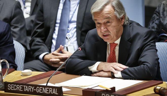 United Nations Secretary General António Guterres address U.N. Security Council meeting on Myanmar's Rohingya crisis, Thursday Sept. 28, 2017 at U.N. headquarters. (AP Photo/Bebeto Matthews)