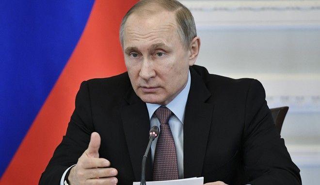Russian President Vladimir Putin speaks at a meeting in the city of Veliky Novgorod, about 500 kms (300 miles) north of Moscow, Russia, Tuesday, April 18, 2017. (Alexei Nikolsky/Sputnik, Kremlin Pool Photo via AP)