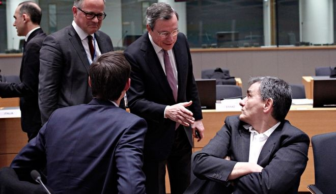Eurogroup finance ministers meeting at the European Council in Brussels, Belgium on Feb. 19, 2018. /          19 , 2018.
