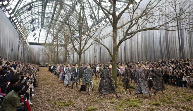Models wear creations for the Chanel ready-to-wear fall/winter 2018/2019 fashion collection presented in Paris, Tuesday March 6, 2018. (AP Photo/Thibault Camus)