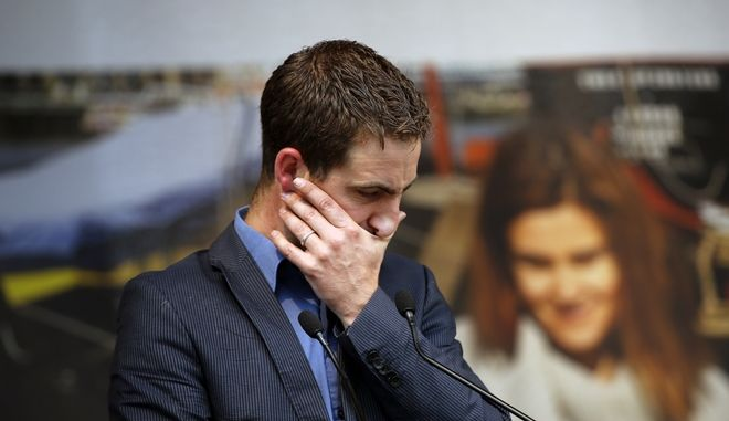 """Brendan Cox, widower of murdered British MP Jo Cox,  makes a speech during a gathering to celebrate her life, in Trafalgar Square, London, Wednesday, June 22, 2016. Jo Cox, a 41-year-old Labour lawmaker who had championed the cause of Syrian refugees, was stabbed and shot to death outside a library in her northern England constituency on Thursday. The suspect gave his name in court as """"death to traitors, freedom for Britain."""" (AP Photo/Alastair Grant)"""