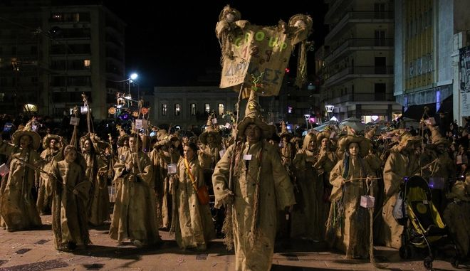 Night Carnival Parade in Patras, Greece on February 25, 2017. /  ,  , 25  2017.
