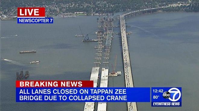 Γερανός κατέρρευσε σε γέφυρα της Νέας Υόρκης