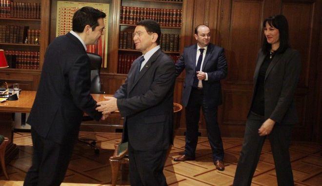 ΑΘΗΝΑ-Συνάντηση του πρωθυπουργό Αλέξη Τσίπρα  με τον γενικό γραμματέα του Παγκόσμιου Οργανισμού Τουρισμού UNWTO, Ταλέμπ Ριφάι.(EUROKINISSI-ΚΟΝΤΑΡΙΝΗΣ ΓΙΩΡΓΟΣ)