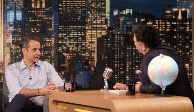 """Καλεσμένος στην εκπομπή του Γρηγόρη Αρναούτογλου,"""" The 2Night Show"""" ήταν ο Πρόεδρος της Νέας Δημοκρατίας Κυριάκος Μητσοτάκης, Τρίτη 25 Ιουνίου 2019."""