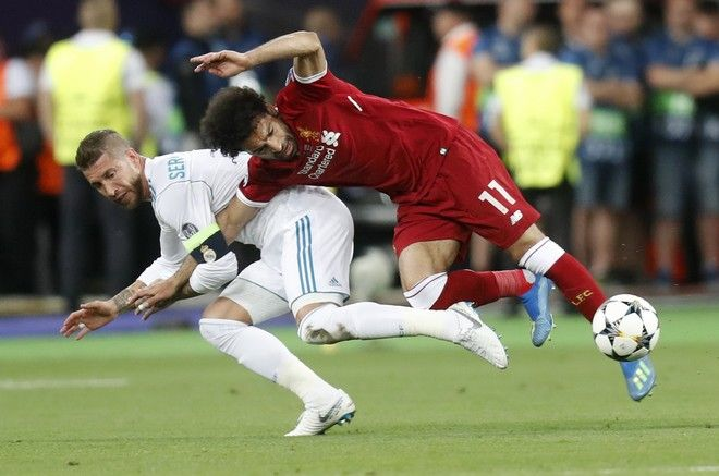 Ο Μοχάμεντ Σαλάχ στον αγώνα της Λίβερπουλ ενάντια στην Ρεάλ Μαδρίτης για τον Τελικό του Champions League