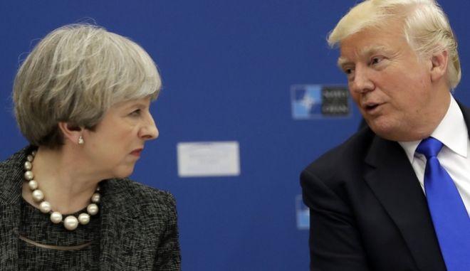 Συνάντηση Αμερικανού προέδρου Ντόνταλν Τραμπ με την πρωθυπουργό της Μ. Βρετανίας Τερέζα Μέι