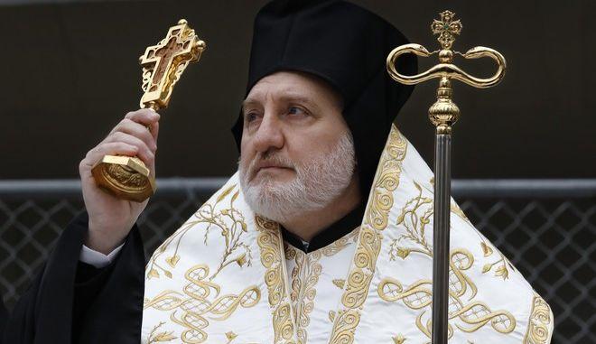 Αρχιεπίσκοπος Αμερικής Ελπιδοφόρος (AP Photo/Mark Lennihan)