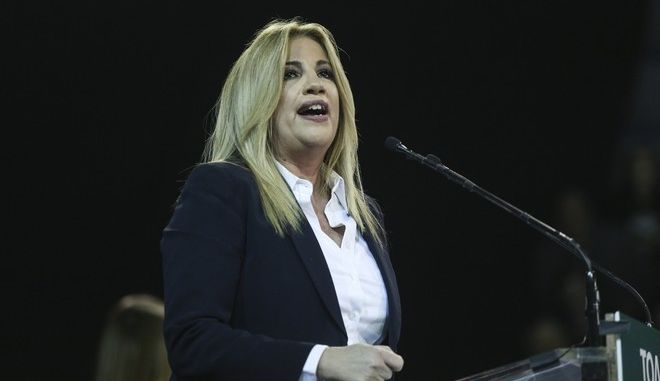 President of Pasok party, Fofi Gennimata, delivers a pre-election speech to his supporters in Athens, Greece on Nov. 9, 2017. /     ,      o       9 , 2017