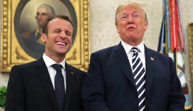 Ντόναλντ Τραμπ και Εμανουέλ Μακρόν στο Λευκό Οίκο