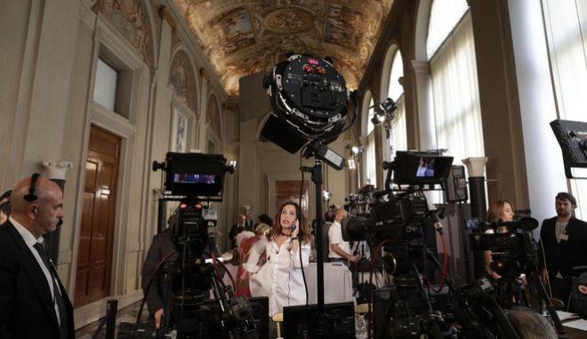 Δημοσιογράφοι στο προεδρικό μέγαρο της Ιταλίας.