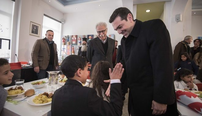 Prime Minister of Greece Alexis Tsipras visits   DIMITREIO Children's Creative Center in Moschato, Athens, on Dec. 29, 2016 /             ,  , ,  29 , 2016