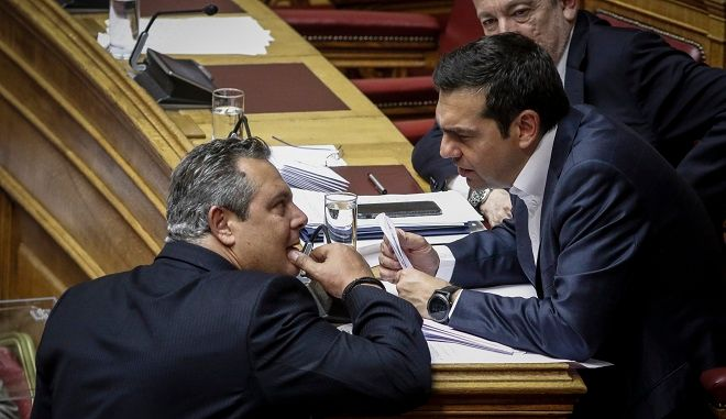 Ψηφοφορία στην Ολομέλεια της Βουλής επί του διανεμηθέντος πορίσματος της Ειδικής Κοινοβουλευτικής Επιτροπής Προκαταρκτικής Εξέτασης, Φωτό αρχείο, Τσίπρας Καμμένος στη Βουλή