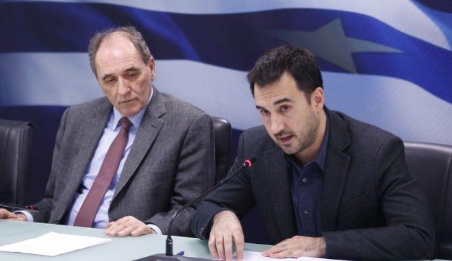 """Συνέντευξη τύπου του υπουργού Οικονομίας Γιώργου Σταθάκη της αναπληρώτρια υπουργού Τουρισμού Έλενας Κουντουρά, του υφυπουργού Αλέξη Χαρίτση, σχετικά με τη δημοσίευση των προσκλήσεων για τις τέσσερις νέες δράσεις του προγράμματος  """"Ανταγωνιστικότητα, Επιχειρηματικότητα και Καινοτομία"""" του ΕΣΠΑ 2014-2020, την Πέμπτη 11 Φεβρουαρίου 2016. (EUROKINISSI/ΣΤΕΛΙΟΣ ΜΙΣΙΝΑΣ)"""