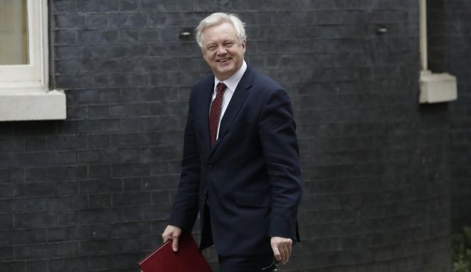 British Secretary of State for Exiting the European Union, David Davis, arrives at 10 Downing Street in London, Thursday, Feb. 9, 2017. Britain's House of Commons gave its final approval Wednesday to a bill authorizing the government to start exit talks with the European Union, despite fears by opposition lawmakers that the U.K. is setting out on the rocky path to Brexit with a sketchy roadmap. (AP Photo/Matt Dunham)