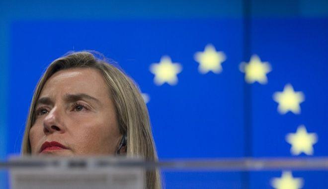 Η ύπατη εκπρόσωπος της ΕΕ για θέματα εξωτερικής πολιτικής Φεντερίκα Μογκερίνι στις Βρυξέλλες
