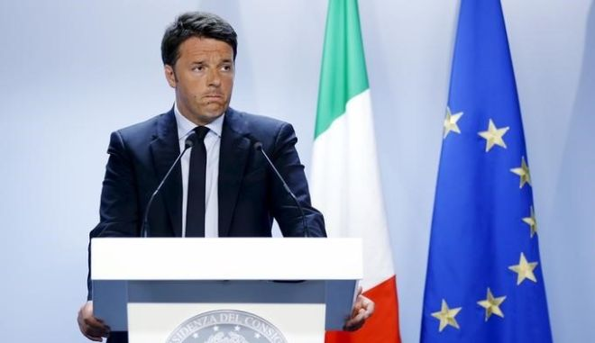 Italy's Prime Minister Matteo Renzi addresses a news conference after a European Union leaders summit in Brussels April 23, 2015. REUTERS/Francois Lenoir