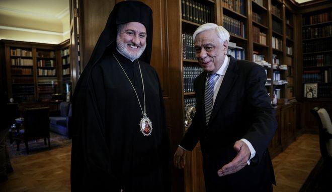 Συνάντηση του Προέδρου της Δημοκρατίας Προκόπη Παυλόπουλου με τον Αρχιεπίσκοπο Αμερικής, Ελπιδοφόρο