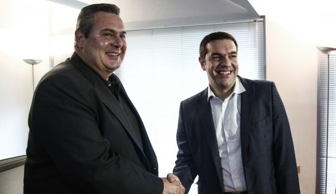Meeting the greek prime minister Alexis Tsipras and the leader of the Independent Greeks party Panos Kammenos, in Athens, on September 21, 2015 /             ,  ,  21 , 2015