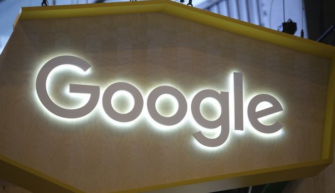 "The Google logo is seen at the Vivatech, a gadgets show in Paris, France, Friday, June 16, 2017. French President Emmanuel Macron is shaking hands with robots and encouraging entrepreneurs as he unveils his strategy to transform the country from a land resting on the laurels of its past into a ""startup nation."" (AP Photo/Thibault Camus)"