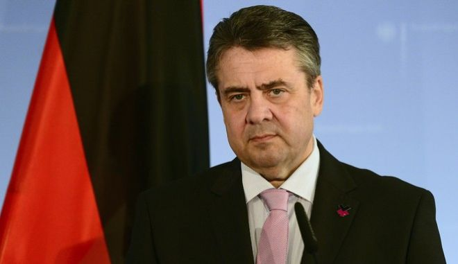 German foreign minister Sigmar Gabriel attends a meeting with his Icelandic counterpart in Berlin, Germany, Thursday, April 6, l 2017. Germanys foreign minister is praising U.S. President Donald Trumps strong condemnation of a chemical attack in Syria. Sigmar Gabriel says Trumps statement Wednesday criticizing the government of Syrian President Bashar Assad is positive.   (Maurizio Gambarini/dpa via AP)