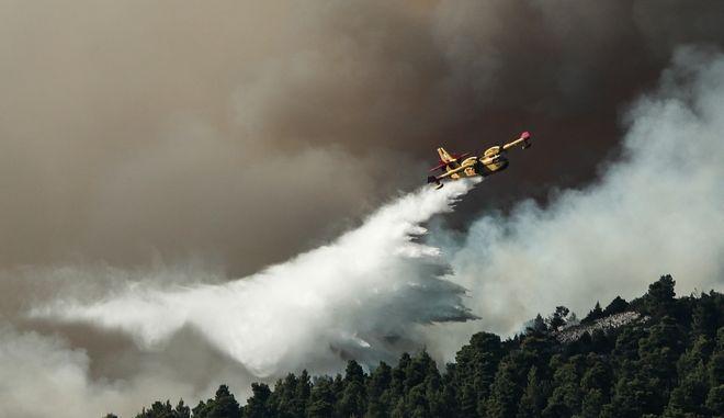 Κατάσβεση φωτιάς από πυροσβεστικές δυνάμεις (φωτογραφία αρχείου)