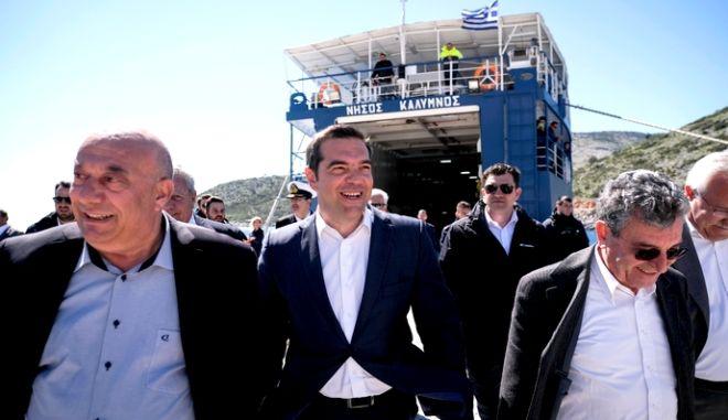 Επίσκεψη του Πρωθυπουργού Αλέξη Τσίπρα στο Αγαθονήσι, Δευτέρα 25 Μαρτίου 2019.  (EUROKINISSI/ Γ.Τ. ΠΡΩΘΥΠΟΥΡΓΟΥ/ ANDREA BONETTI)