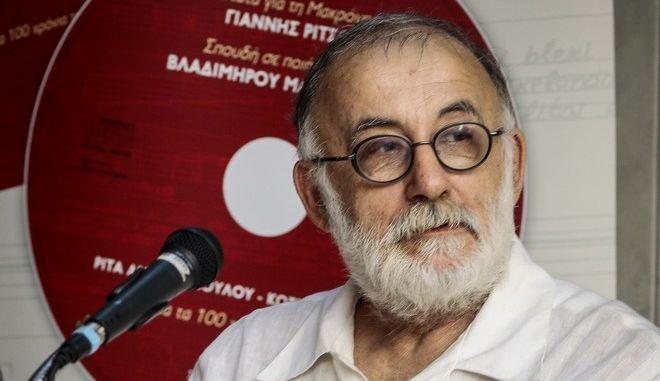 Ο Θάνος Μικρούτσικος σε παρουσίαση βιβλίου τον Σεπτέμβριο του 2018