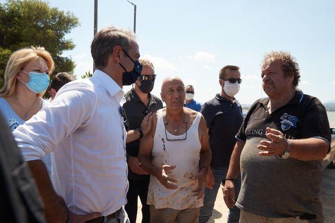 Επίσκεψη Κυριάκου Μητσοτάκη στις πληγείσες από τις πλημμύρες περιοχές της Εύβοιας