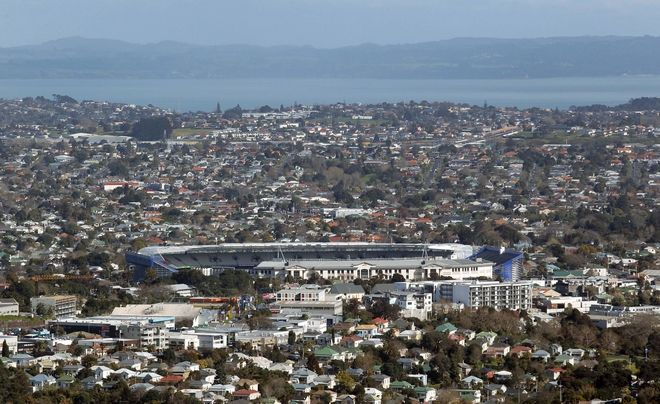 A view shows the Eden Park stadium in Auckland, New Zealand, Friday, Sept. 2, 2011. Eden Park will host the opening match of the upcoming Rugby World Cup on Sept. 9. (AP Photo/Christophe Ena)