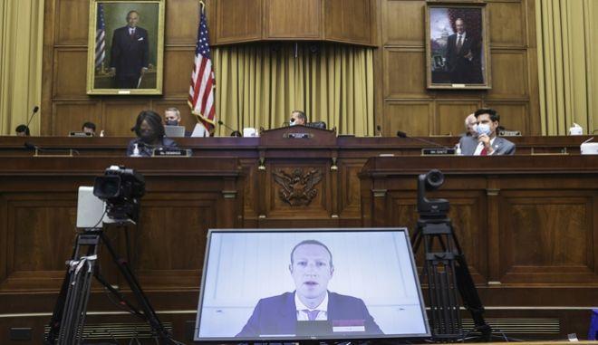 Ο επικεφαλής του Facebook Mark Zuckerberg καταθέτει μέσω τηλεδιάσκεψης στο Κογκρέσο των ΗΠΑ