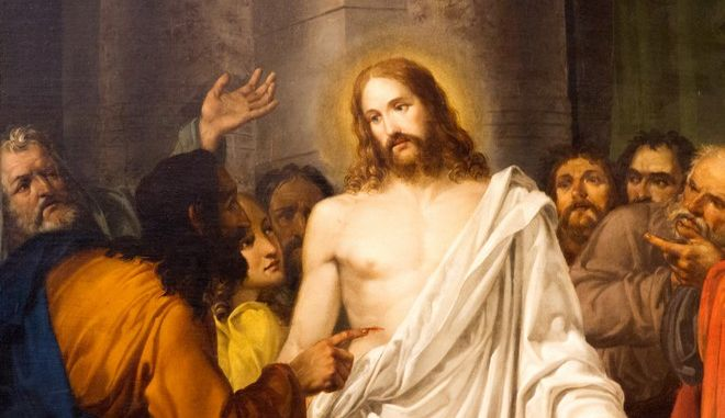 Πίνακας που δείχνει τον Ιησού με τους Αποστόλους σε εκκλησία στη Βενετία