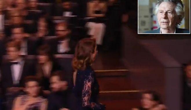 H Γαλλίδα ηθοποιός Αντέλ Ενέλ αποχωρεί από την αίθουσα.