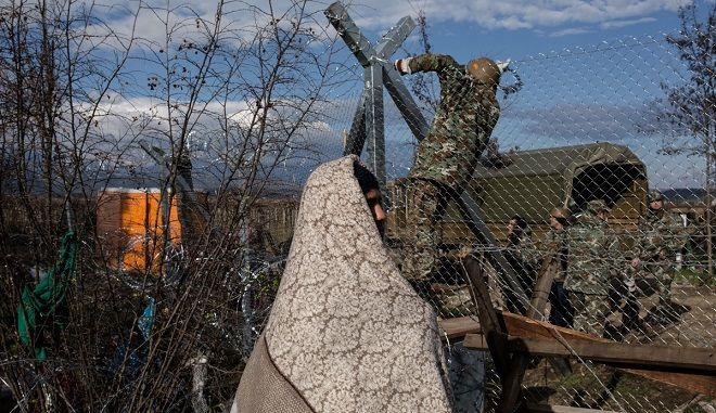 The army of F.Y.R. of Macedonia continues the fence construction at the Greek - FYROM border near the Greek village of Idomeni, Greece on November 29, 2015.