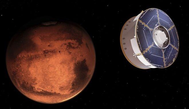 Απεικόνιση από τη NASA του διαστημικού σκάφους που μεταφέρει το ρόβερ Perseverance στον Άρη