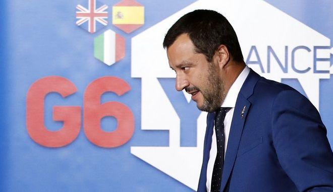 Ο υπουργός Εσωτερικών της Ιταλίας Ματέο Σαλβίνι κατά την σύνοδο των G6 στη Λιόν