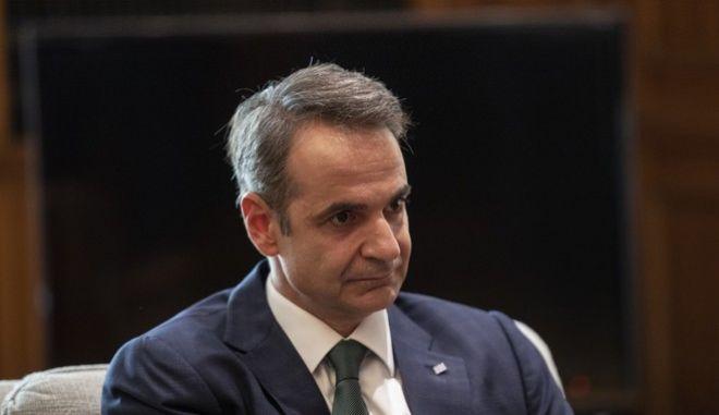 O πρωθυπουργός της Ελλάδας, Κυριάκος Μητσοτάκης κατά την συνάντησή του με τον υπουργό Εξωτερικών της Γερμανίας