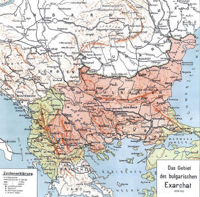 Χάρτης με τη Βουλγαρική Εξαρχία