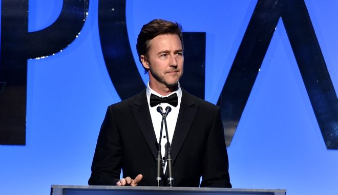 Edward Norton speaks on stage at the 26th Annual Producers Guild Awards at the Hyatt Regency Century Plaza on Saturday, January 24, 2015, in Los Angeles. (Photo by John Shearer/Invision for Producers Guild of America/AP Images)