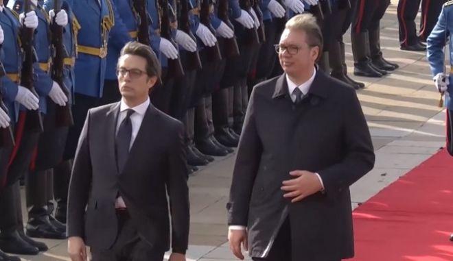 Οι πρόεδροι Σερβίας και Βόρειας Μακεδονίας Αλεξάνταρ Βούτσιτς και Στέβο Πενταρόφσκι στο Βελιγράδι