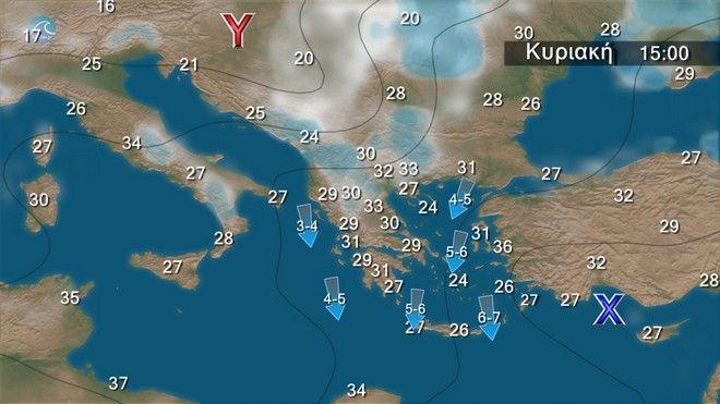 Σχεδόν αίθριος καιρός με ανέμους έως 7 μποφόρ στο Αιγαίο