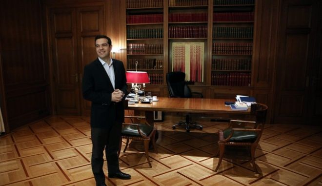 Greece's PM, Alexis Tsipras, meets the mayor of Athens, Giorgos Kaminis, at Maximos Mansion in Athens, Greece on March 16, 2017. /   ,  ,    ,     , 16  2017.