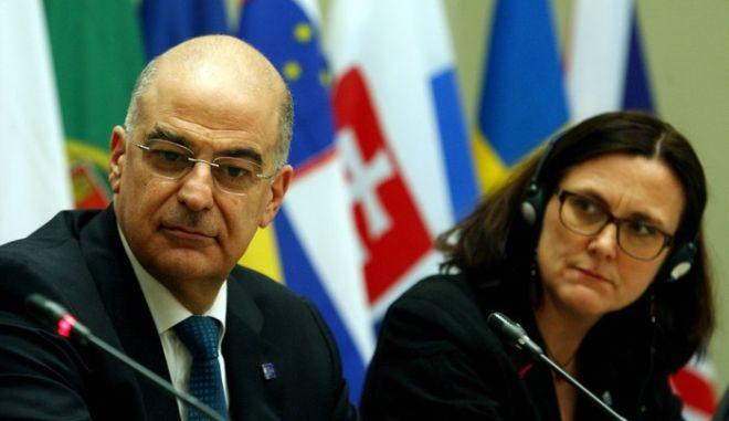 Στιγμιότυπο από την συν. τύπου μετά τη συνεδρίαση της άτυπης συνόδου των Υπουργών Δικαιοσύνης και εσωτερικών υποθέσεων της Ε.Ε για την τρομοκρατία και την ασφαλεια των συνόρων,Παρασκευή 24 Ιανουαρίου 2014 (EUROKINISSI/ΤΑΤΙΑΝΑ ΜΠΟΛΑΡΗ) (EUROKINISSI/ΤΑΤΙΑΝΑ ΜΠΟΛΑΡΗ)