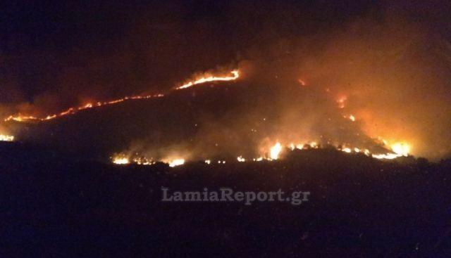 Φωτιά στην Εύβοια: Στιγμιότυπο από το μέτωπο τα ξημερώματα της Παρασκευής